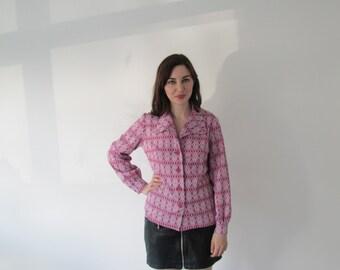 Vintage 1970s Ladies Pink Argyle Print Poloshirt