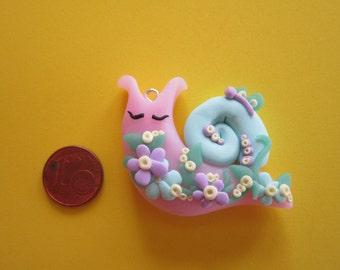 kawaii polymer clay charm, fimo, snail, jewelry