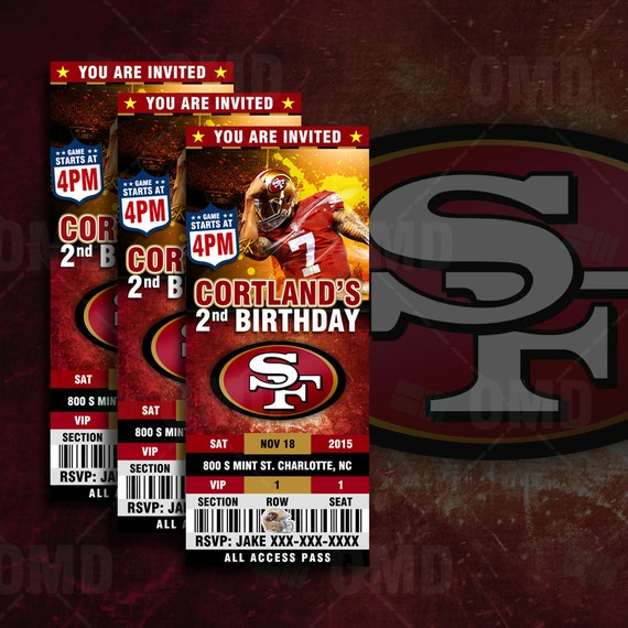 2.5x6 San Francisco 49ers Sports Party Invitation By