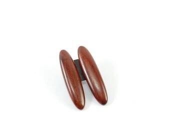 Tropical Wood Oval Stud Earrings