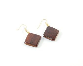 Tropical Wood Square Pendant Earrings