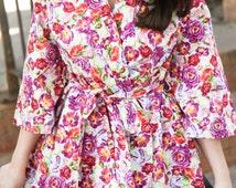 Tea House Robe/House Dress with Kimono Sleeves and Side Pockets
