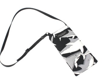 Eyeglass case for readers - Great White Shart Madness Black fabric Eyeglass Reader Case -with adjustable neck strap lanyard