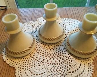Wheatonware Candle Holders Qty of 3 1970 Era