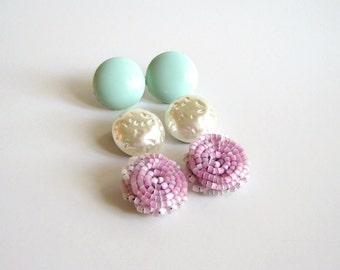 SALE vintage collection pastel earrings . pink seed bead cluster earrings . clip on earrings . mint screw back earrings . faux pearl clip on