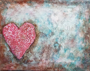 PERSONALIZE ME! Tuscan Heart Original Painting Mixed Media Oil Acrylic Pastel PaperTextured Collage Painting 11x14 inches Inspirational