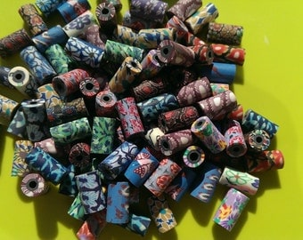 100 Mixed Multicoloured Polyclay / Polymer Clay / Fimo Tube / Barrel Beads