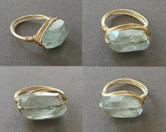 Icy Blue Aquamarine Ring WIre Wrapped RIng Statement Solitair Ring Birthstone Ring