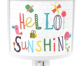 Hello Sunshine Cute Nursery Bathroom hallway Bedroom GET IT nightlight Nite Lite