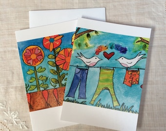 CARDS Set of 6 Garden and Laundry Line Love Cards on recycled content paper by Fern House Studio NEW