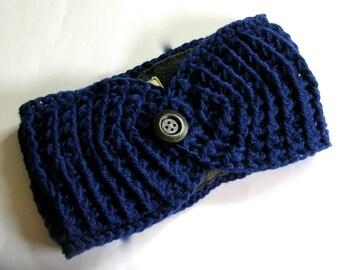 Ear Warmer Crocheted with Fleece Lining//Oak Street in Navy Blue// Headband Handmade// READY to SHIP//Fall and Winter Accessories