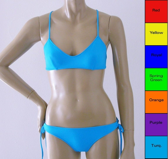 X-Back Ballet Top and Tie Bottom Two Piece Bikini in Red, Yellow, Blue, Green, Orange, Purple, Turquoise