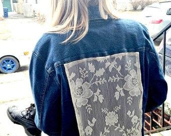 Vintage Bohemian Jean Jacket Lace Festival Goddess Tribal Upcycled Denim Medium
