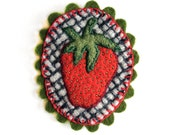 Strawberry felt brooch embroidered pinback green red