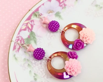 Retro Hoop Earrings, Purple Flower Earrings, Assemblage Earrings, Disco Earrings, Spring Flower Earrings, Handmade By KreatedByKelly