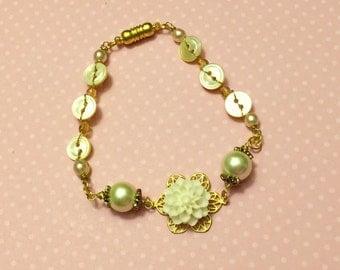 Ivory Flower Bracelet, Vintage Button Jewelry, Pearl Bridesmaid Bracelet, Mother of Pearl Bracelet, Wedding Jewelry, Handmade KreatedByKelly