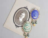 1 Glass Cameo Fridge Magnet - Egyptian revival face with rhinestones and beads - choice of blue or green