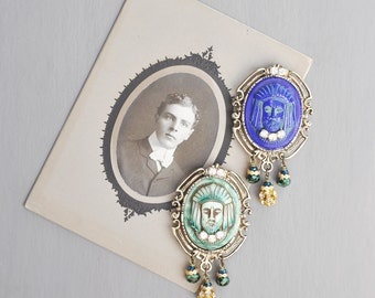 1 Glass Cameo Fridge Magnet - BLUE Egyptian revival face with rhinestones and beads