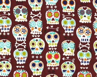 Bonehead in Cocoa - Michael Miller cotton quilt fabric - one yard or by the yard