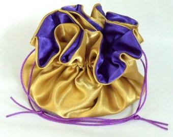 Wedding Bag  Satin Bridal Money Purse  Gold with Royal Purple  Lining  No Pockets