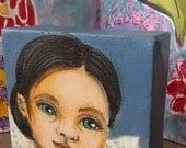 Mixed Media painting   Angel Girl  with wings Acrylics Original Art
