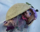 """POD BABY LILY- One Of A Kind- Baby Elf, Polymer Clay- 10 cm (4"""") Tall"""