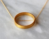 Golden Circle Necklace, Large Round Pendant, Geometric Jewelry, Gold Vermeil, 14k Gold Filled Chain, Statement Necklace, Gold Jewelry