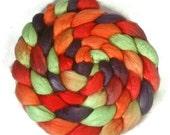 Handpainted Merino Silk 50/50 Wool Roving - 4 oz. DRAGON SCALES - Spinning Fiber