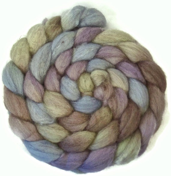 Handpainted BFL Tussah Silk Wool Roving - 4 oz. LAVENDER HEDGEROW - Spinning Fiber
