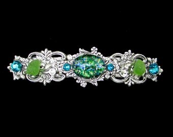 Sparkling Hair Barrette with Green Glass Opal and Beach Glass
