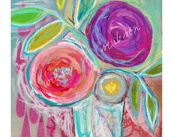 Blooms, spring decor, flowers, bright decor, boho, blossoming, floral painting, wall art, floral painting, art print