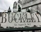 CUSTOM NAME SIGN, Shabby Chic Wedding Sign, Vintage Wedding Sign, Romantic Weddings, Established Sign, Rustic Wedding Sign, Aged Sign