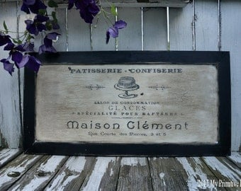FRENCH BAKERY SIGN, Paris Apartment, Vintage Inspired, French Country, Kitchen Sign, Bakery Decor, Business Sign, Shabby Chic Sign, Rustic