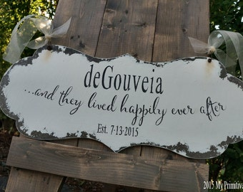 and they lived HAPPILY EVER AFTER Sign / Wedding Sign / Ring Bearer Sign / Flower Girl Sign / Sign with Handles / Aisle Sign / Distressed