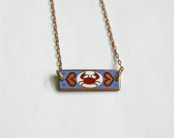 Cancer Zodiac Necklace / Vintage Enamel / Art Nouveau