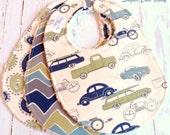 Baby Boy Bibs  - Set of 3 Triple Layer Chenille  - Retro Rides Cars & Trucks, Wheelies and See Saw Chevron