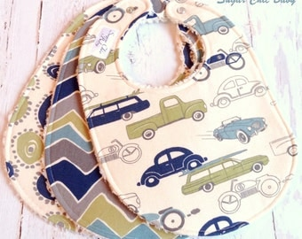 Baby Boy Bibs  - Set of 3 Triple Layer Chenille  - Retro Rides Cars & Trucks, Wheelies and See Saw Chevron