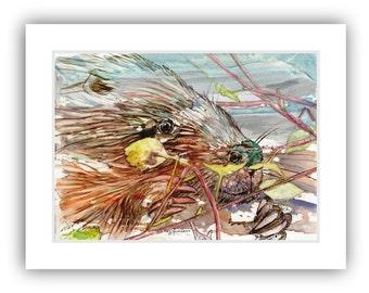 Beaver art, original watercolor painting, yupo, Birch painting, Michigan artist, lake cabin decor, cottage decor