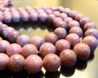A Quality 10mm Rhodonite Round beads full 16 inch strand pink & black