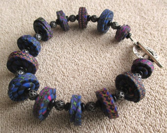 Blue and Purple Stacker Bead Bracelet - Handmade Polymer Clay Beads