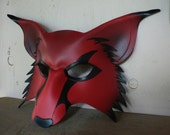 RED wolf, kitsune leather mask, cosplay fox mask
