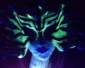Lion fish mask, one of a kind leather mask, glow in the dark stripes for unique costume
