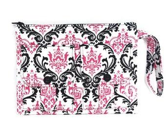 Wristlet Wallet - Pink Damask Madison Wallet, Fabric Wallet, Pink Wristlet, iPhone Wristlet, Zipper Wallet, Damask Wallet, Dorothy Wristlet