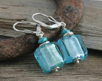 Foil Glass Hill Tribe Sterling Silver Turquoise Dangle Drop // Handcrafted Jewelry // luluglitterbug