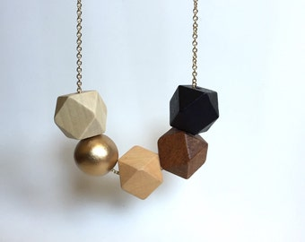 Faceted Geometric Necklace - 5 Wooden Beads with Gold