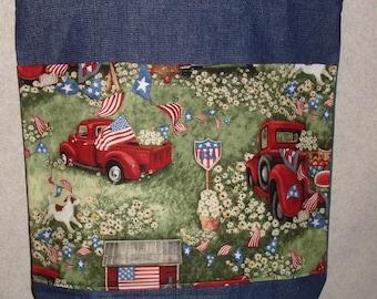 New Large Handmade Patriotic Classic Americana July 4th Picnic Flag USA Denim Tote Bag
