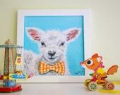 "Lamb Nursery Art Print, Cute Nursery Art, Farm Nursery Decor, 12x12"""