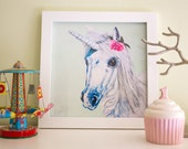 Unicorn Art Print, Unicorn print, Unicorn Nursery Decor, 8x8""