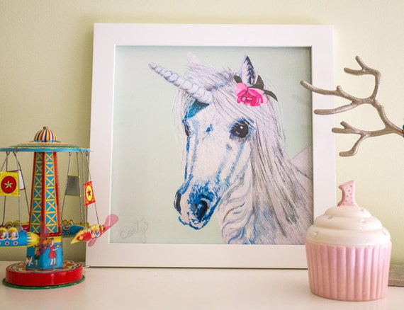Unicorn Art Print, Unicorn print, Unicorn Nursery Decor, 12x12""