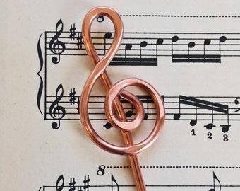 Treble Clef Copper Hair Stick, Music Gift Shawl Pin, Scarf Pin, Bun Holder, Hair Pin, Music Jewelry, Women, Knitter Musician Gift